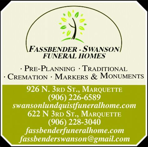 fassbender swanson funeral homes marquette mi 49855 3504