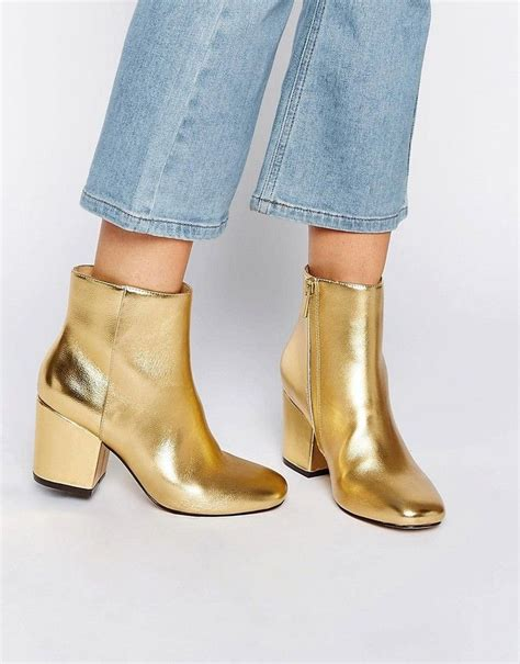 7 Heels For Fall by Affordable Fall Metallic Gold Ankle Boots Asos Rachelle