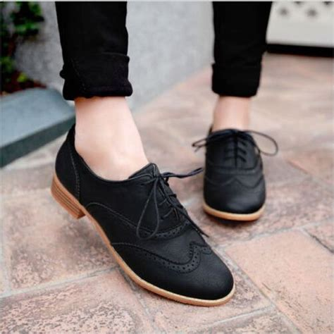 womens flat work shoes brogue lace up wing tip oxford college style flat