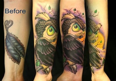 owl cover up tattoos trish s owl coverup by tim senecal tattoonow