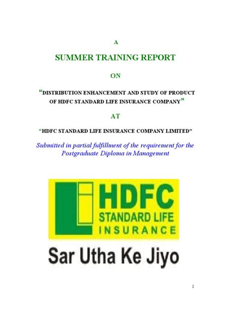 Mba Project Hdfc Standard Insurance by Project On Hdfc Standard Insurance Company Insurance