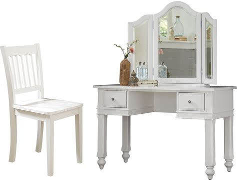 lake house white writing desk with vanity mirror chair