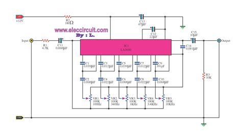 integrated circuit equalizer 10 channel graphic equalizer circuit using la3600