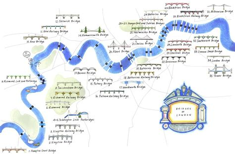 thames river boat map an illustrated map of bridges on the thames londonist