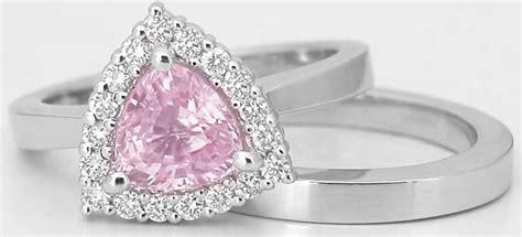 light pink sapphire engagement rings trillion light pink sapphire engagement ring with matching