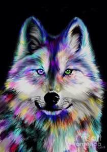 Rainbow Shower Curtain Rainbow Wolf Painting By Nick Gustafson