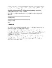 non compete clause template sle non compete agreement