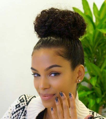 pics of black pretty big hair buns with added hair tips for hairstyles while exercising care for your curls