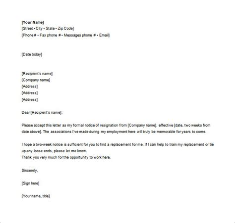 Formal Resignation Letters by Easy To Use And Formal Resignation Letter Template Exle Vatansun