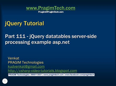 jquery tutorial with exles for beginners sql server net and c video tutorial jquery datatables