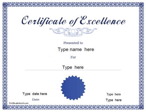 certificates of excellence templates certificate free award certificate templates no