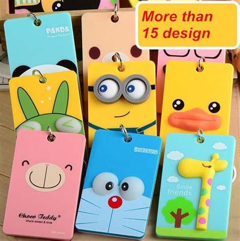 membuat id card doraemon cartoon pvc badge holder accessories kawaii id card holder