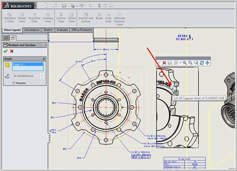 solidworks section view broken out section view in a drawing