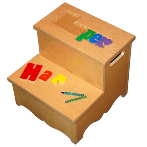 Name Puzzle Step Stool by Chairs