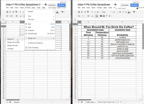 how to create a data table with spreadsheets