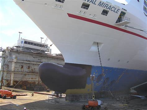 cruise ship dry dock the carnival miracle cruise ship at shipyard dry dock