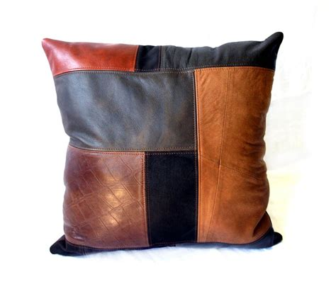 Patchwork Leather - crafted upcycled leather patchwork pillows large