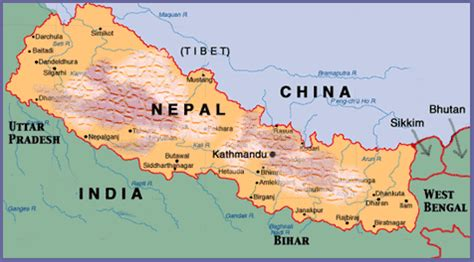 where is nepal on the map nepal maps