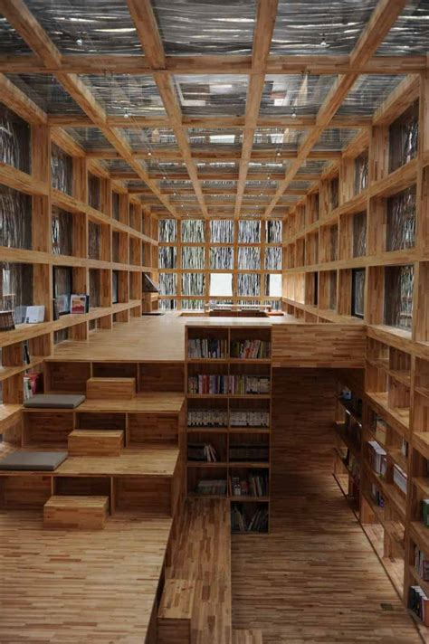 library with wood structure and branch exterior liyuan