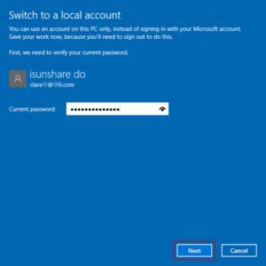 enter current microsoft account password isunshare