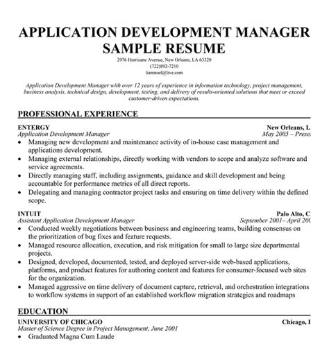 Web Development Manager Sle Resume by 28 Sle Resume For Application Resume For Application Sle 28 Sle College Application Sle