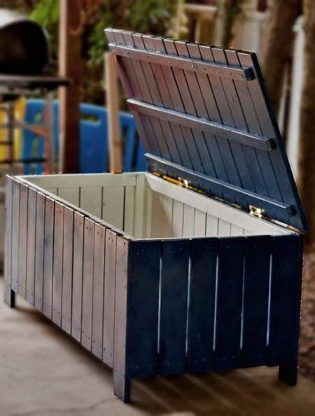 storage bench made from pallets diy outdoor storage bench from pallets home pinterest