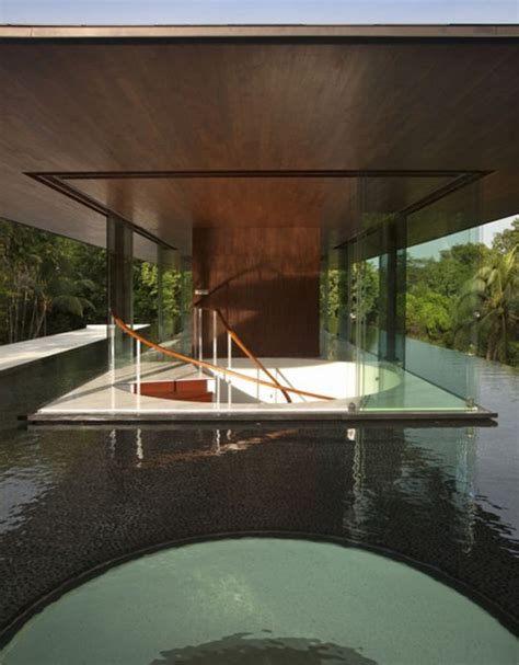 falling water revisited modern green pool cooled home