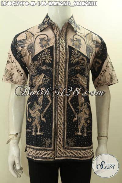 Gamis Srikandi model baju batik hem pria lengan pendek motif wayang