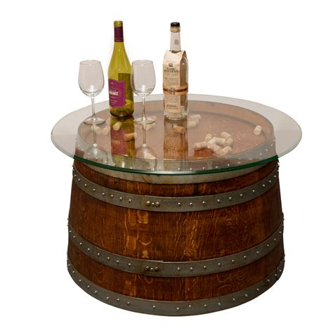 glass top  barrel coffee table napa east