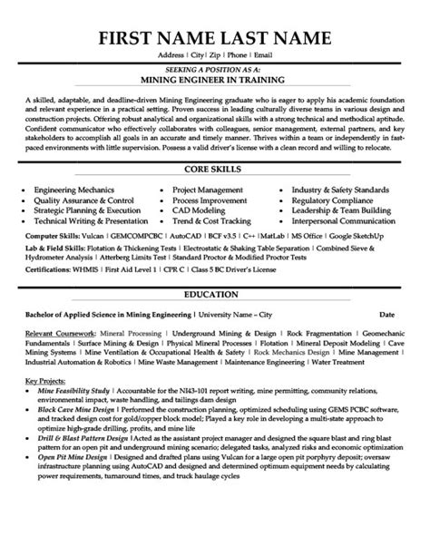 Cover Letter For Mining Mining Engineer In Resume Template Premium Resume Sles Exle