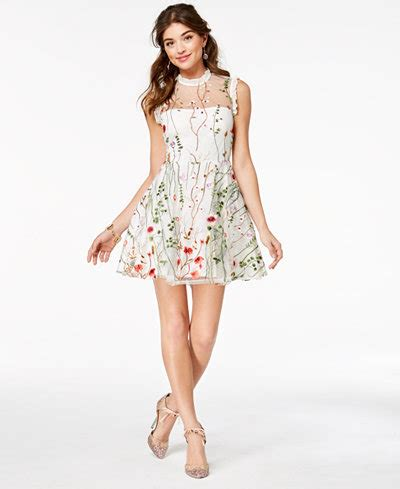 Jessiva Flowery Flare Mini Dress city studios juniors floral embroidered fit flare dress