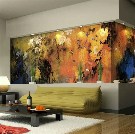 modern interior design with fresco wall murals inspired by exquisite wall coverings from china