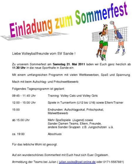 Muster Einladung Sommerfest Einladungen Sommerfest Thegirlsroom Co