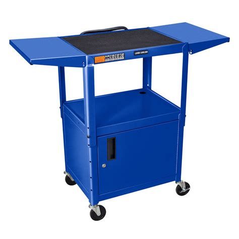luxor cart with locking cabinet luxor avj42cdl rb blue computer cart with locking cabinet
