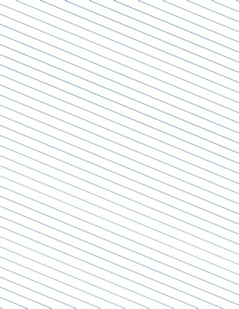 Slant Ruled Paper With Wide Ruled Left Handed Low Angle Blue Lines Free Download Genkouyoushi Paper Template