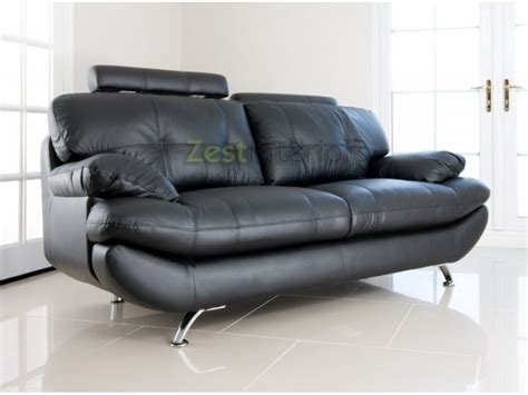 black faux leather two seater sofa verona 2 seater sofa black faux leather w adjustable headrest