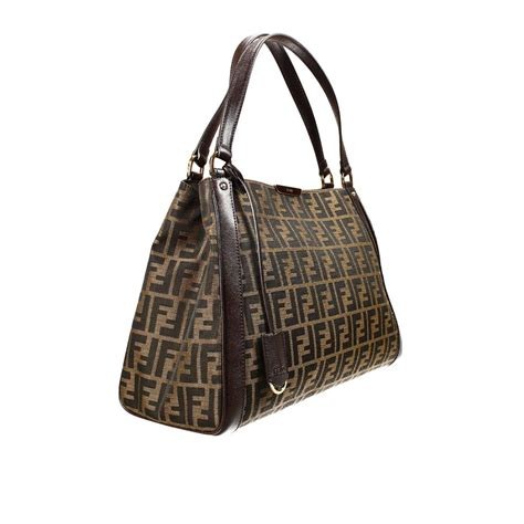 Fendi Brown Tweed Handbag by Fendi Handbag Zucca Shopping Bag With Contrast In Brown Lyst