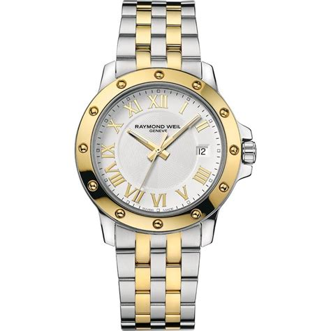 raymond weil s date silver and gold bracelet