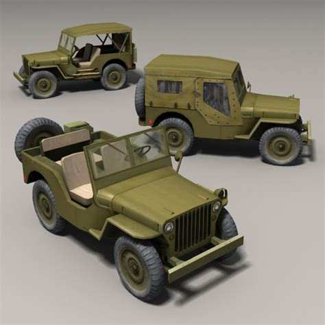 chevrolet jeep models 3d model willys jeep cgtrader
