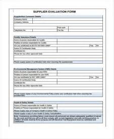 supplier form template 8 supplier evaluation form sles free sle exle