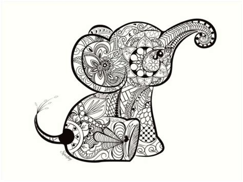 baby elephant doodle art print  chrissy hoff hudson