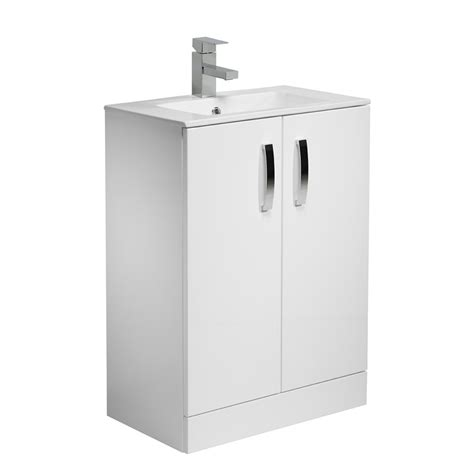 Gloss White Vanity Unit by Tavistock Designer 600mm Freestanding Vanity Unit