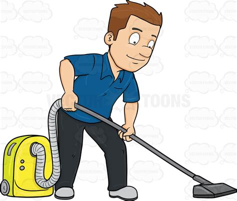 vacuum emoji a man using a vacuum cleaner to sanitize the floor cartoon