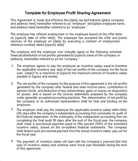 Sle Agreement Letter Between Company And Employee Sle Profit Agreement 10 Free Documents In Pdf Doc