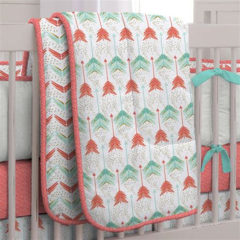 Coral And Teal Arrow Crib Comforter Carousel Designs