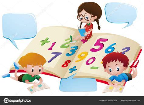 imagenes niños estudiando matematicas plantilla de burbuja del discurso con ni 241 os estudiando