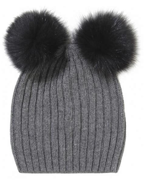 Pompom Beanie Hat lyst helene berman pom pom beanie hat in gray