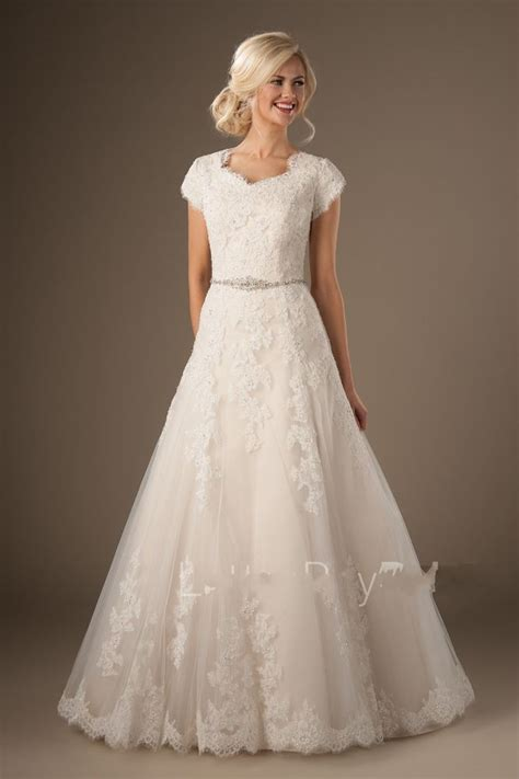 modest lace wedding dresses with sleeves modest lace short sleeve wedding dress garden bridal gown