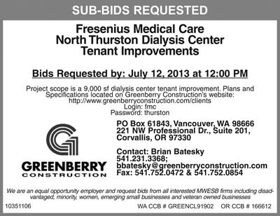 greenberry construction is requesting sub contractor bids