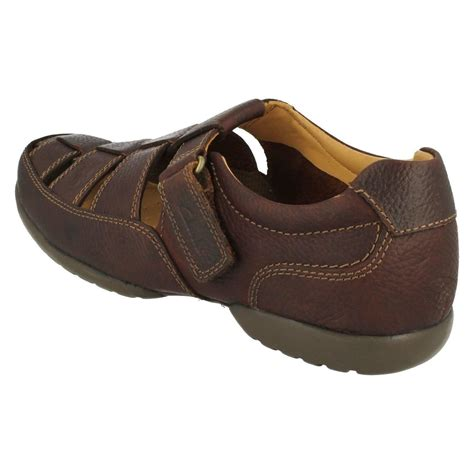 mens wide sandals mens clarks wide fitting leather riptape fastening sandals